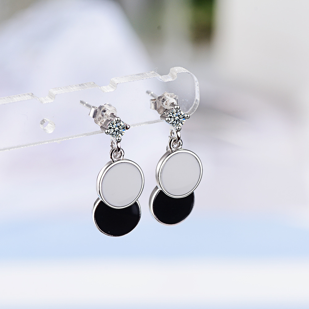 100 925 Sterling Silver Trendy Round Circle Female CZ Tassel Stud Earrings Wholesale Jewelry For Women No Fade Gift Girls in Stud Earrings from Jewelry Accessories