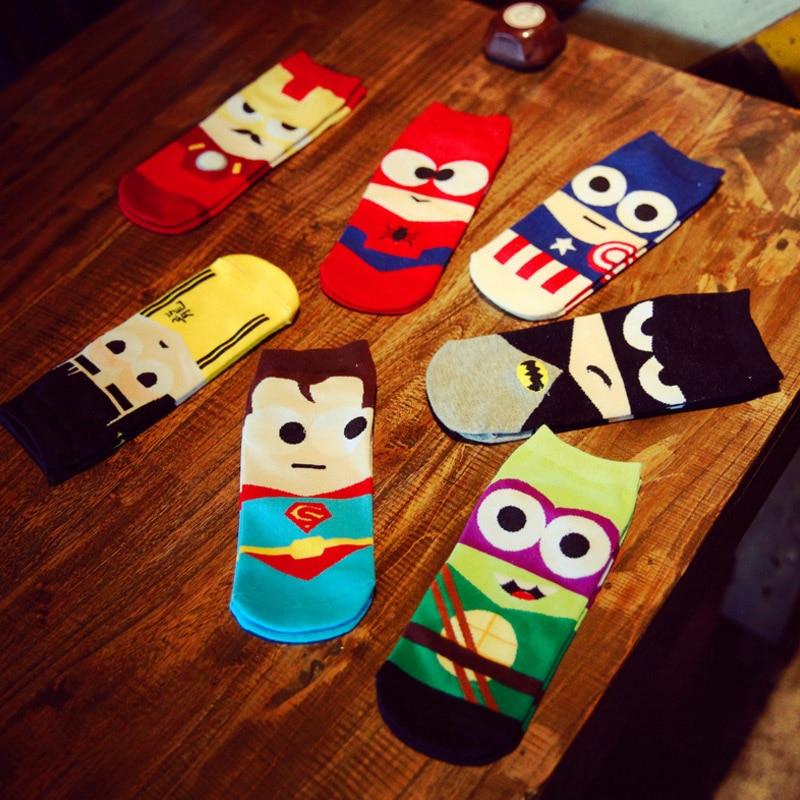 Superheros Boat Socks For Men Plus Size Superman Batman Captain Arrowman Superheroes Invisible Happy Socks Funny Soft Cotton