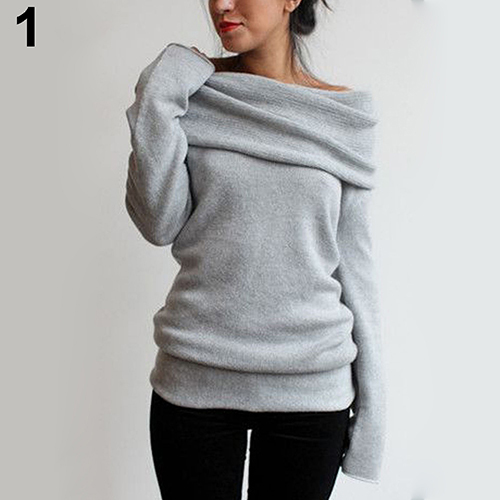 New Arrival Women Sexy Casual Off Shoulder Roll Neck Long Sleeve Knitted Jumper Sweater Top 6