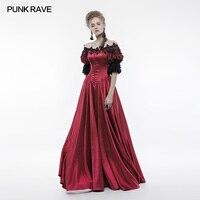 Панк Rave викторианской Винтаж дворец длинное платье красный атлас с вышивкой, Танцы Королевский аристократ wq352