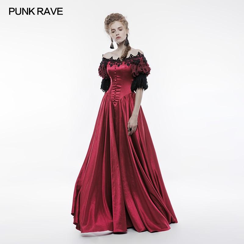 Punk Rave victorien Vintage Palace longue robe rouge satin avec broderie, danse aristocrate royal wq352