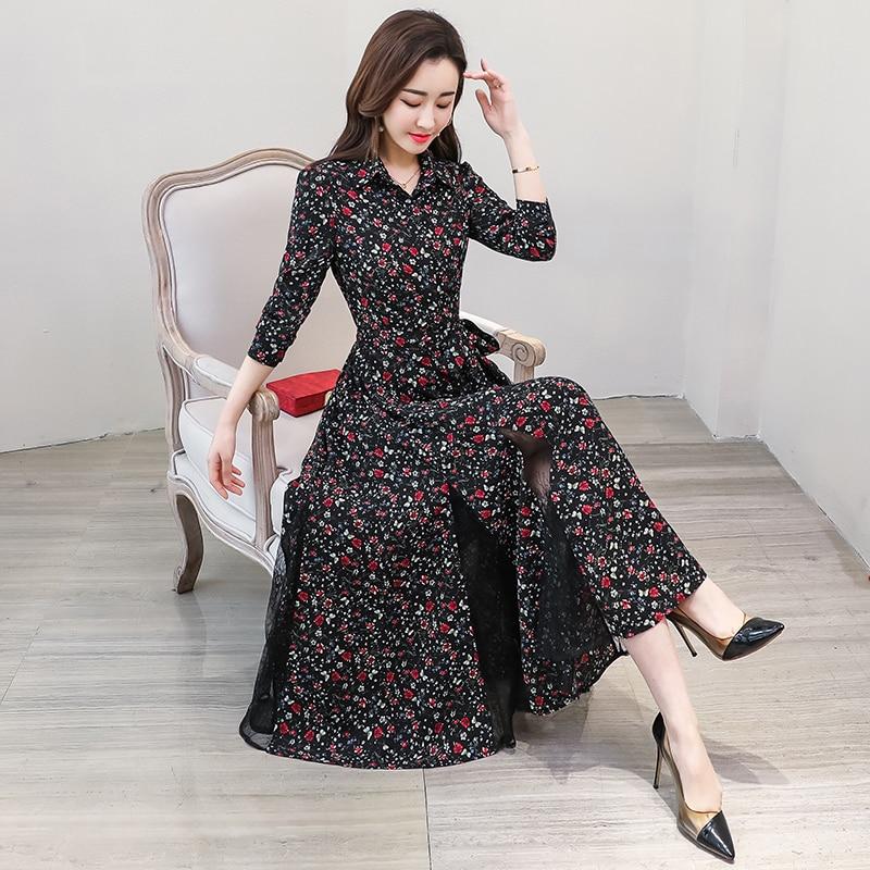 New chiffon stitching lace Dress lady elegant temperament long dress shirt collar long sleeve women print