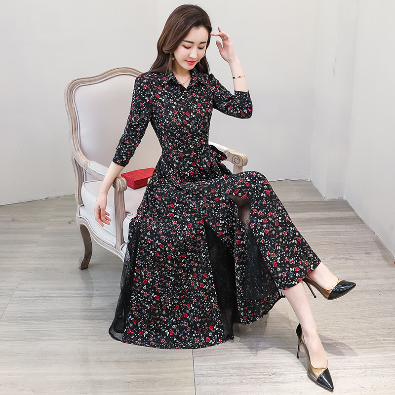 New chiffon stitching lace Dress lady elegant temperament long dress shirt collar long sleeve women print dresses