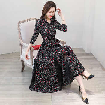 New chiffon stitching lace Dress lady elegant temperament long dress shirt collar long sleeve women print dresses - DISCOUNT ITEM  0% OFF All Category
