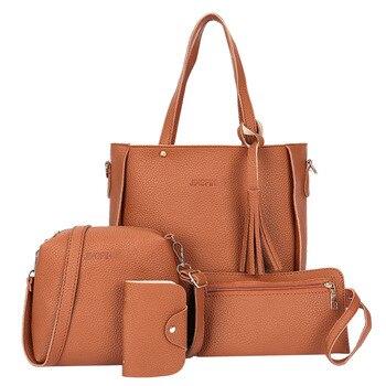 4pcs/Set Multi-Colors Lichi Leather Tassels Women Tote Shoulder Handbag Clutch Card Bags Big Capacity Bolsa Feminina Mochila grande bolsas femininas de couro
