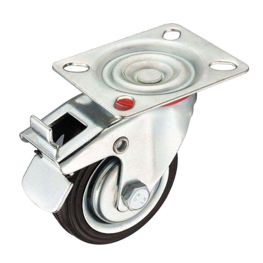 Billiger Preis 3-zoll Gummi Caster Rad Bremse, Swivel Top Platte, 110 £. Last Kapazität Ausgereifte Technologien