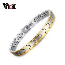Vnox salud pulsera y brazalete para mujeres acero inoxidable 316l magnética longitud ajustable