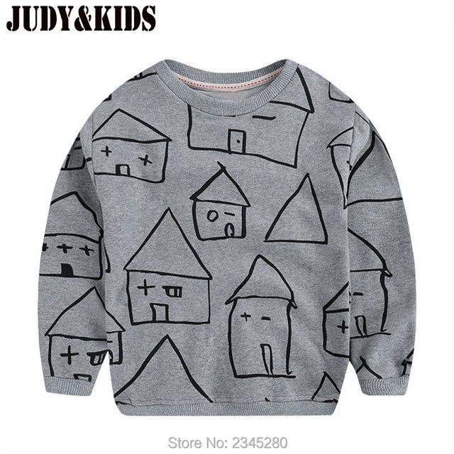 Camisa de T Para O Menino Crianças Sweatershirt Roupas Bobo Choses Meninos Tops T-Shirt Com Mangas Compridas tricô Padrão Crianças Roupas
