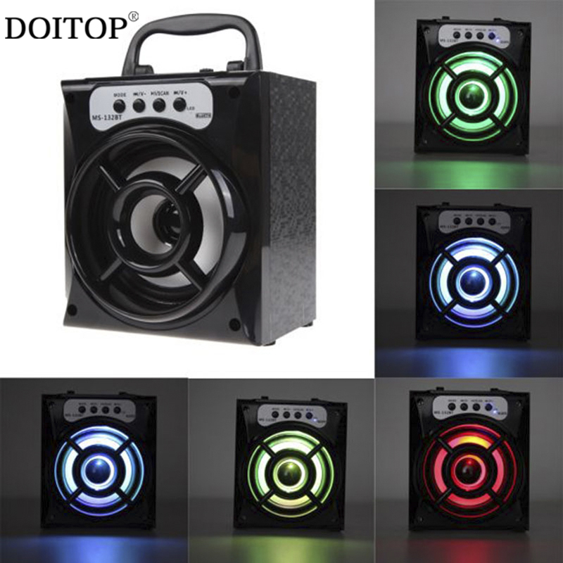 DOITOP Portable FM Radio SD Card Wireless Speakers MS132BT Big Outdoor Bluetooth Wireless Stereo Speaker With Colorful LED light exrizu ms 136bt portable wireless bluetooth speakers 15w outdoor led light speaker subwoofer super bass music boombox tf radio