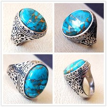 цена New Silver Plated Rings Inlaid Vintage Natural Big Blue Stone Thai Silver Ring for Men Women Fashion Silver Rings Jewelry Gift онлайн в 2017 году