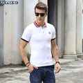 2016 Short  Sleeve Mens  Polos Homme Turn Down Rib Collar Cotton Decorative Button Fashion xxxl  Solid Clothing