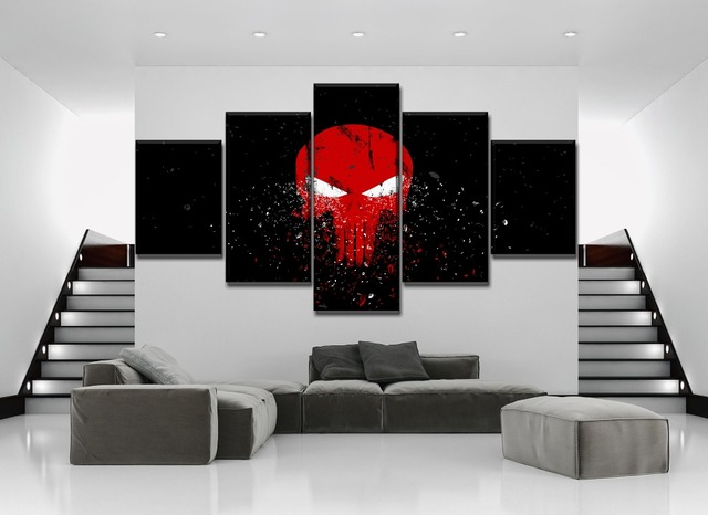 High Quality Canvas Printed Painting 5 Piece Punisher Logo Dark Poster Modern Bedroom Wall Home Decor Modular Combinatorial Art