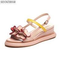Classic Sandals Women Comfortable Shoes flower Wedge Sandals Buckle Strap Shoes Prom Party Dress Shoes Woman