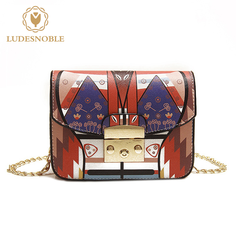 LUDESNOBLE Brand 2017 New Crossbody Bags For Women Leather Shoulder Bag Female Hasp Chains Geometric Print