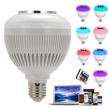 Hot Wireless bluetooth 12W LED speaker bulb Audio Speaker E27 Colorful music playing & Lighting With 24 Keys IR remote Control