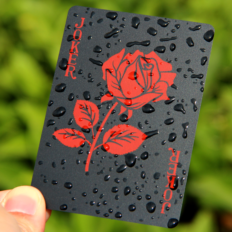 New Arrival Rose Design Plastic PVC Black Poker Waterproof Playing Cards Novelty High Quality Collection Gift Durable Poker ...