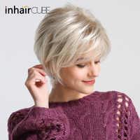 Inhair Cube Kurze Gerade Synthetische Haar Perücke 10 mit Natürlichen Pony Pixie Cut mit Highlights Für Frauen Flauschigen Freies verschiffen