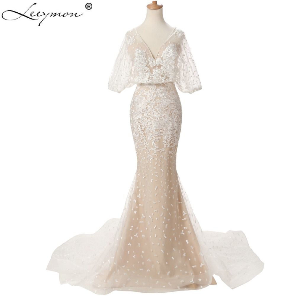 eb5a71ff7 Sexy Embroidery Lace Tulle Mermaid Puff Sleeves Ivory Bridal Gown Long  Wedding Dress with Pearls Open