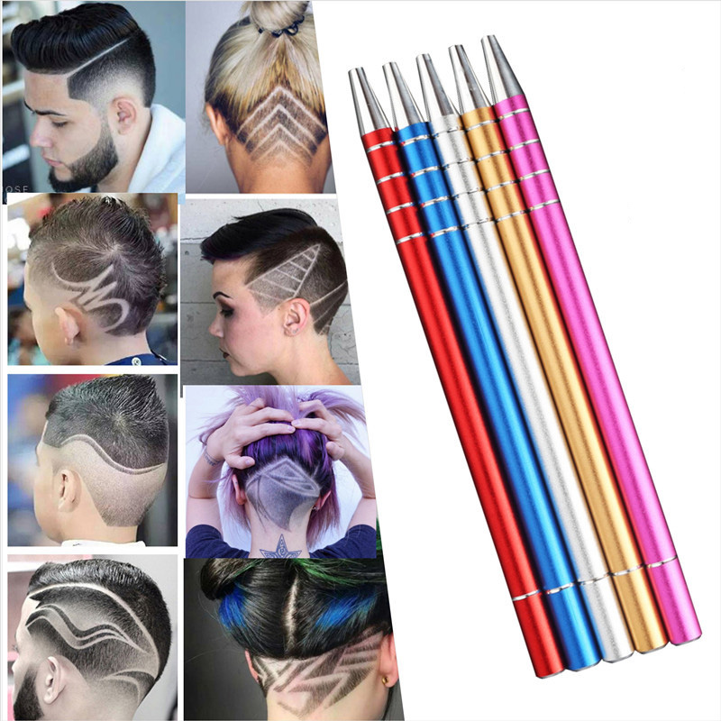 5 Color Manual Tattoo Pen Beard Eyebrow Hair Engrave Carving Pen Blades Tweezers New Makeup Tools Barber Kit Tattoo ombre handle eyebrow tweezers