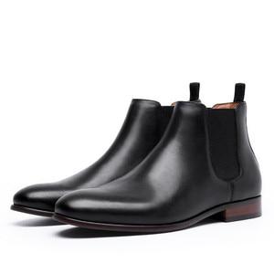 Image 5 - 2020 prawdziwej skóry mężczyzn buty jesień zima botki moda obuwie Slip on buty mężczyźni Business Casual High Top mężczyźni buty