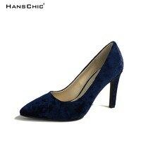 HANSCHIC 2017 New Arrival Floral Dark Navy Blue Retro Slip On Ladies Womens High Spike Heels