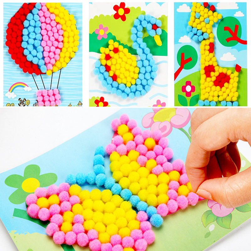 8pcs Children DIY Cotton Ball Stickers/ Kids Child Cartoon Cardboard With Multi Color Little Ball Stick Paintings, Free Shipping