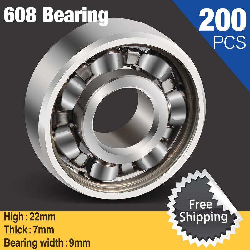 200pcs Bearing Steel 608 Bearing For Fidget Metal Spinner Fashion Triple-Spinner Hand Spinners Toy Autism ADHD Kids Adult Toys batman version fidget spinner metal edc toys tri hand spinner for autism and adhd 606 mixed ceramic bearing for fun assembly