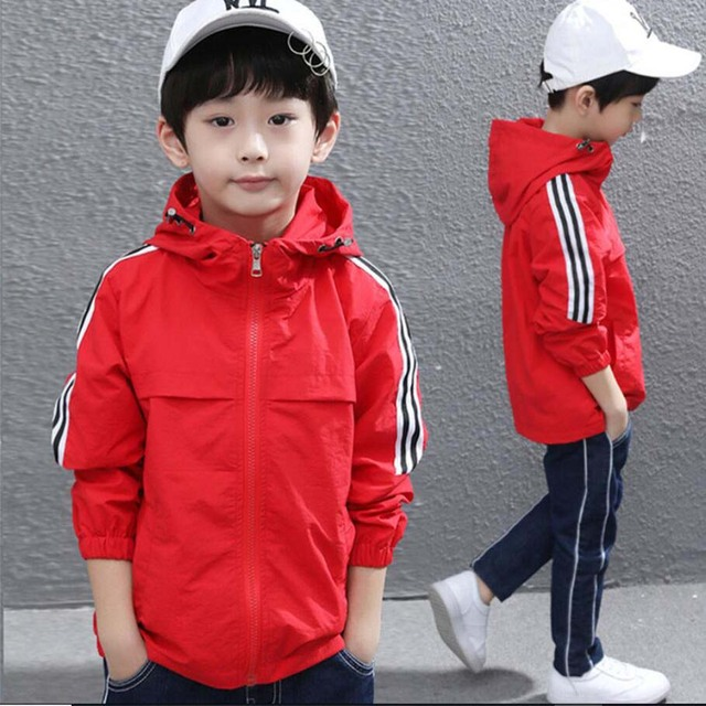 Boys spring jacket 3-13T children long sleeve hooded active windbreaker teenage clothes big boys cool sport coat boys outwear