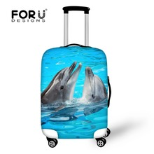 Dolphin Shark Elastic Travel Luggage Cover Stretch Protect Suitcase Cover For 18 30 Inch Tiger Case