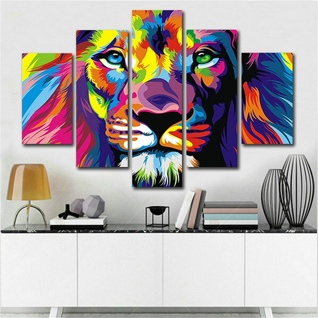 5 Piece Color Lion King Animal Oil Painting Pictures Art Print On The  Canvas Wall Decor