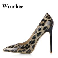 Wruchee high heels shoes woman leopard patent pointed toe women's shoes 12cm thin heels