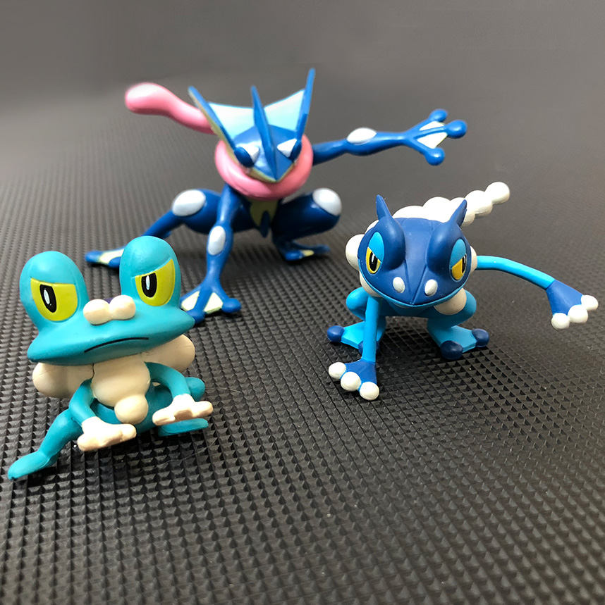 Original Greninja Frogadier Froakie anime cartoon action & toy figures Collection model toy KEN HU STORE pokemones anime ash ketchum gym badges badge brooch small squirtle bulbasaur figures toy zinic alloy brooch action figures toy