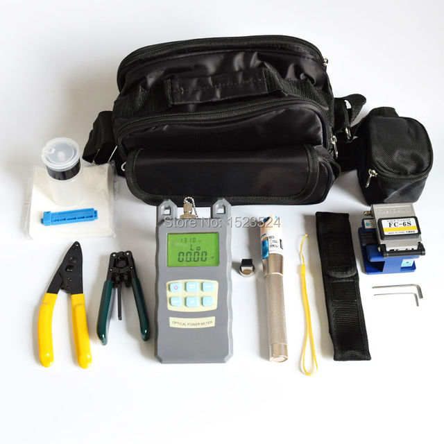 15 in 1 FTTH Fiber Optic Tool Kits with Fiber Cleaver -70~+10dBm Optical Power Meter Visual Fault Lcator 3-5KM and Stripper