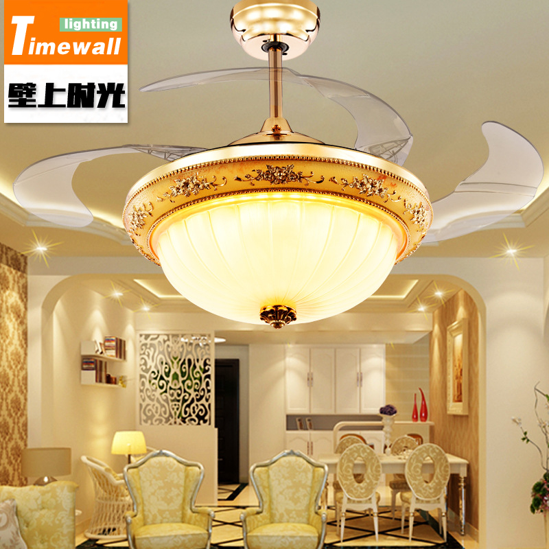 Luxury electric fan lamp, fan lamp, ceiling fan lamp, rural living room dining room, ceiling fan simple crystal hidden ceiling fan lamp restaurant fan room living room bluetooth music live fan lamp home romance