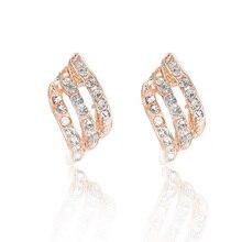 1 Pairs Stud Earrings For Women Shiny Rhinestone Golden Color Crystal Earrings
