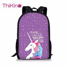 Thikin Cartoon Pink Unicorn Pattern Student School Bag for Teenagers Backpack Travel Package Shopping Shoulder Women Mochila