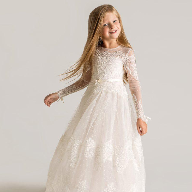 Princess Lace   Flower     Girls     Dresses   For Wedding 2019 Long Sleeves Custom Made Lace Designer First   Dress   Appliques Communion Comm