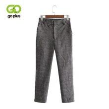 GOPLUS Wide Leg Vintage Plaid Pants Women Zipper Fly Causal Loose Trousers Women 2019 Grey High Waist Office Lady Pants C6912 недорого