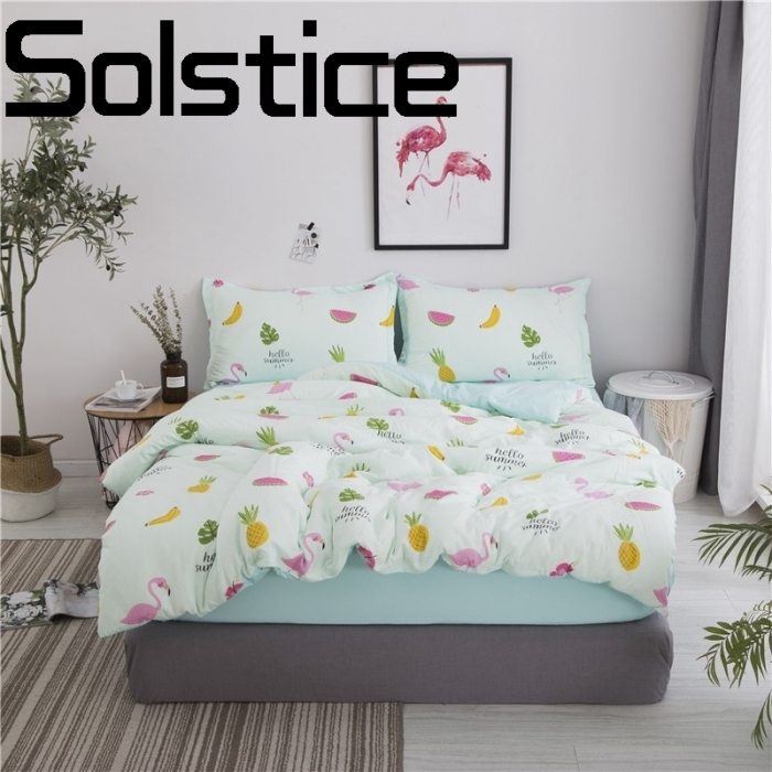 Solstice Home Textile Comfortable washed cotton breathable active printing and dyeing bedding sheets bed linen pillowcase 3/4pcs