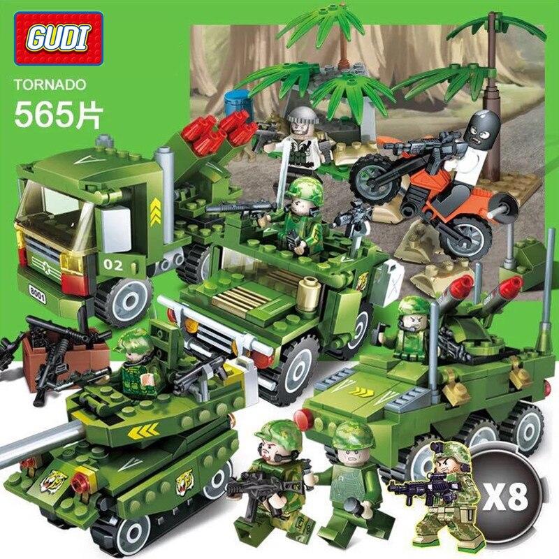 GUDI City Military War Scenes Firewire Tank Missile Building Blocks Model Kids Star Wars Playmobil Toys for children