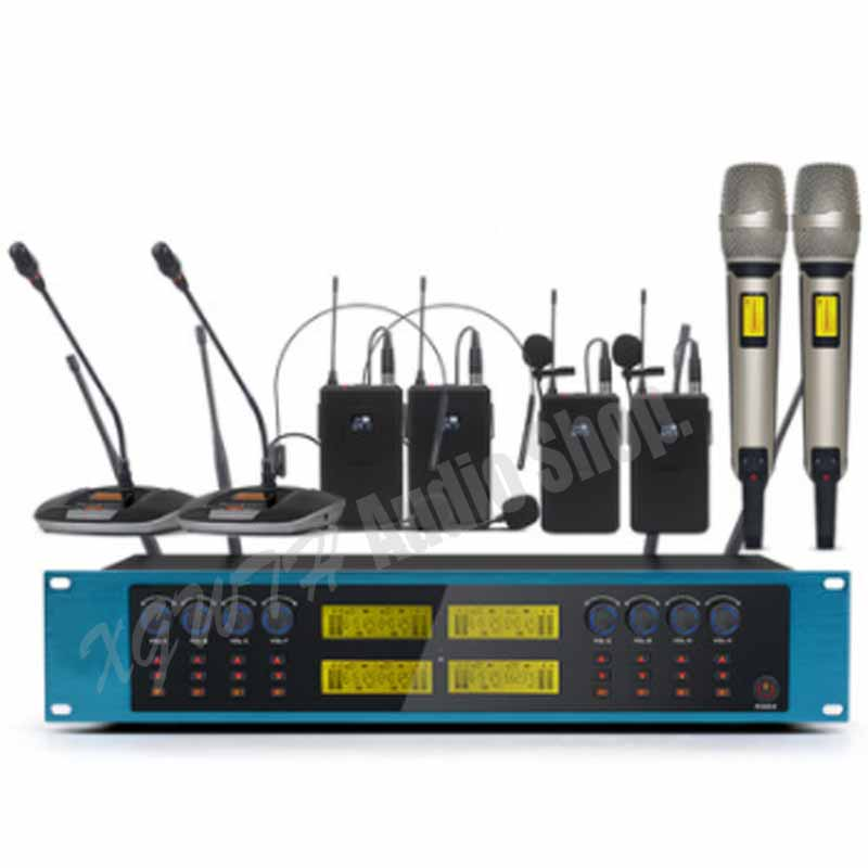 UHF Adjustable Frequency Radio Wireless Microphone System with Desk Tabletop Gooseneck Conference Handheld Headset Lavalier Mic
