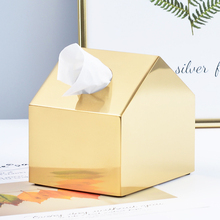1PCS Paper Rack Metal Gold Car Home Decor House Shaped Tissue Box Container Stainless Steel Carton Towel Napkin Holder