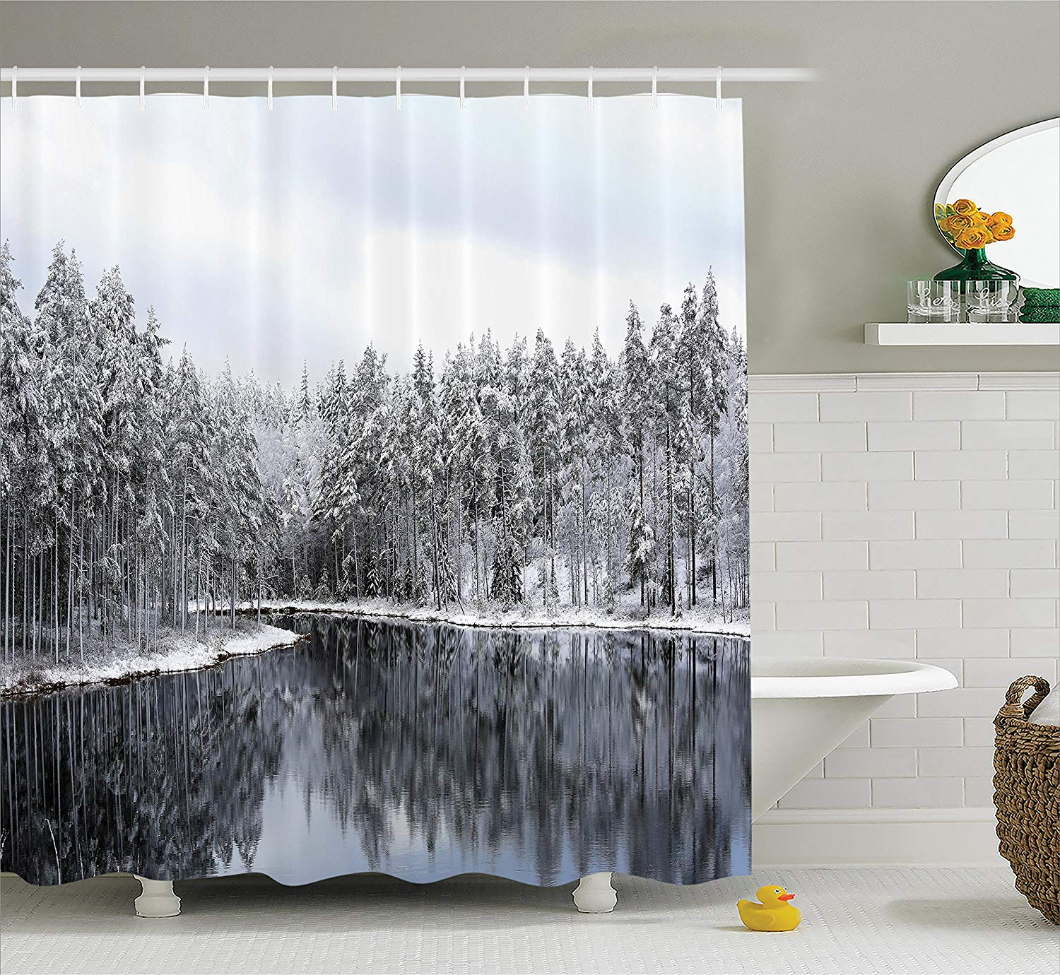 Snowy Trees Shower Curtain Woodland Decor Lake Surrounded By Snow Covered On A Cold Winter Day In Finland Fabric Bath Curtains From Home