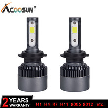 AcooSun Auto Led H7 H4 Headlight 9005 HB3 9006 HB4 Led Car Bulb 6500K LUX Chip 76W 10000lm Car Lamps H3 H11 Fog Light All-in-one(China)