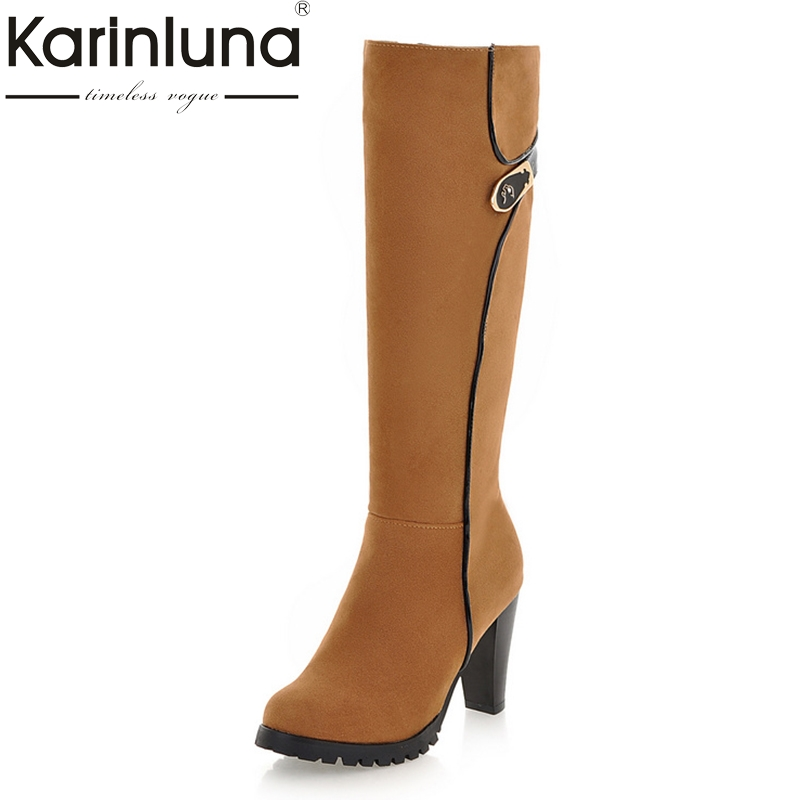 KARINLUNA 2018 large size 34-43 Fashion Knee High Boots women Vintage spike High Heels Platform Boots Winter Shoes woman A18