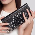 Women Wallet Diamond PU Leather Long Coin Purses Flower Lady Day Clutches Floral ID Credit Card Holders Brand Designer wallet