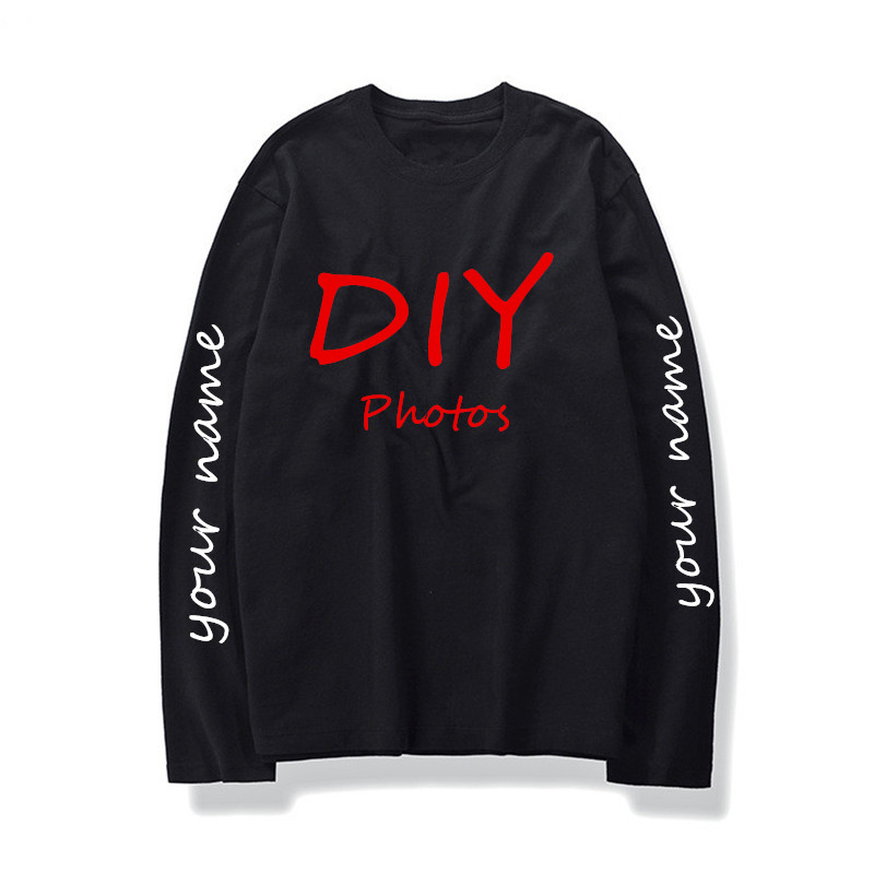 DIY logo T-shirts Men custom long sleeve t shirt customized pattern print hip hop design o-neck basic tee shirt