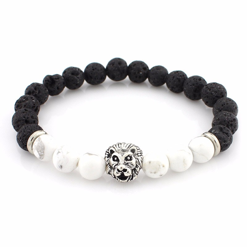 black-lava-stone-bracelets-with-silver-lion-with-white-colored-natural-stones
