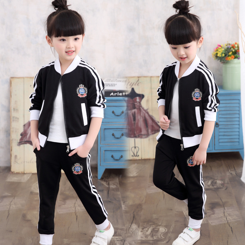 Girls Suits 2017 Spring Autumn New Child Korean Clothes Children toddler girl clothing Sets School Forms 10 11 12 Years old kids 2016 autumn and spring new girl fashion cowboy short jacket bust skirt two suits for2 7 years old children clothes set