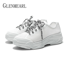 Woman Casual Shoes Platform White Shoes Flats Breathable Lace Up Women Sneakers Spring Summer Running Shoes Female Plus Size DE hung yau white canvas shoes female new spring summer style shoes women casual lace up shoes flats students loafers plus size 9